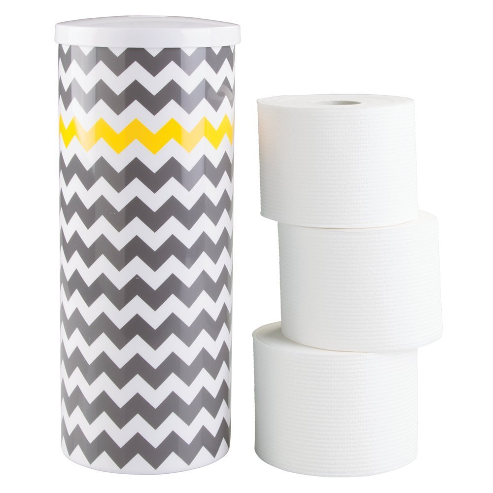 mDesign Free Standing Toilet Paper Holder for Bathroom - Gray/Yellow Chevron MetroDecor