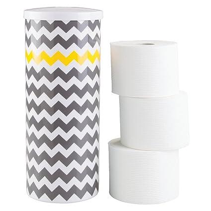 mDesign Dispensador de papel higiénico – Decorativo portarrollos de pie – Almacenaje de baño para 3