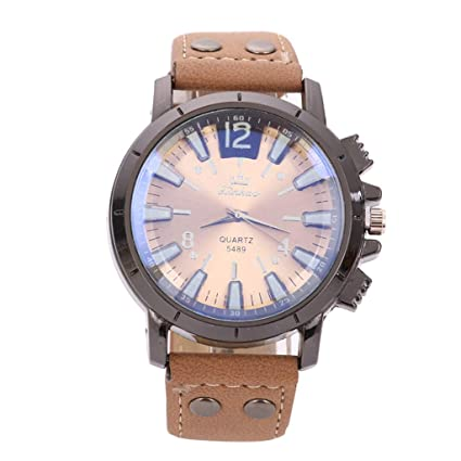 Amazon.com: XBKPLO Mens Quartz Watch, Analog Wrist Leisure Sport Concise Watches Large Dial Mechanical, Leather Strap: Pet Supplies