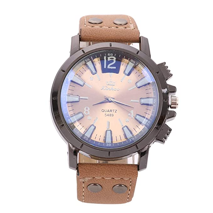 Amazon.com: XBKPLO Mens Quartz Watch, Analog Wrist Leisure Sport Concise Watches Large Dial Mechanical, Leather Strap: Pet Supplies