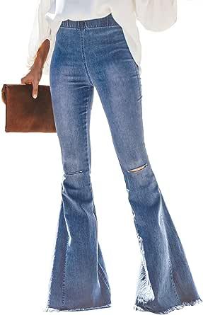 GOSOPIN Women Destoryed Juniors Bell Bottom High Waist Denim Jeans