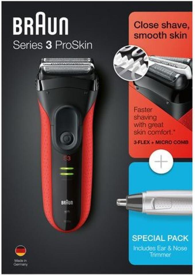 Braun PACK Series 3 ProSkin 3030S + EAR & NOSE TRIMMER EN10 - Afeitadora eléctrica / máquina de afeitar recargable, color rojo: Amazon.es: Salud y cuidado personal