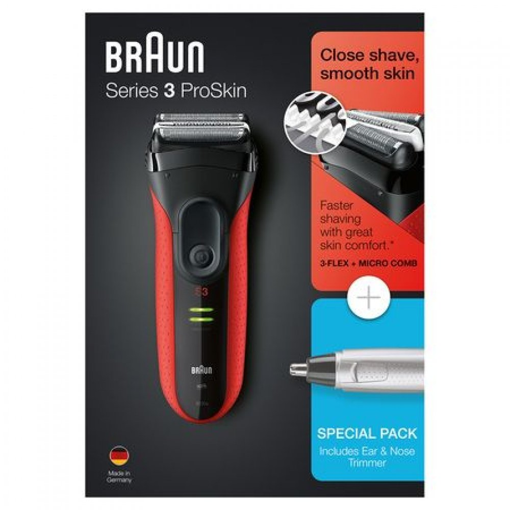 Braun PACK Series 3 ProSkin 3030S + EAR & NOSE TRIMMER EN10 - Afeitadora eléctrica / máquina de afeitar recargable, color rojo