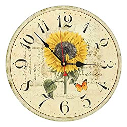 RELIAN Decorative Wall Clock 14 Inch Silent Non Ticking Vintage Wall Clocks for Home Decor Sunflower