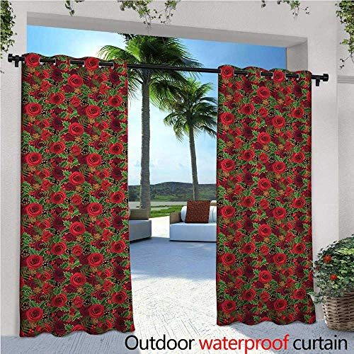 Christmas Outdoor Privacy Curtain for Pergola Romantic Vibrant Roses and Buds Holly Berries Pine Cones and Leaves Print Thermal Insulated Water Repellent Drape for Balcony W120