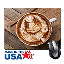 """MSD Natural Rubber Mouse Pad/Mat with Stitched Edges 9.8"""" x 7.9"""" Cup of hot latte art coffee on wooden table IMAGE 32565752"""