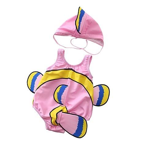 Bebés y niñas traje de baño de una pieza + conjunto de gorros de ...