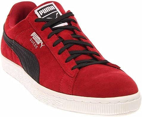 puma suede red black