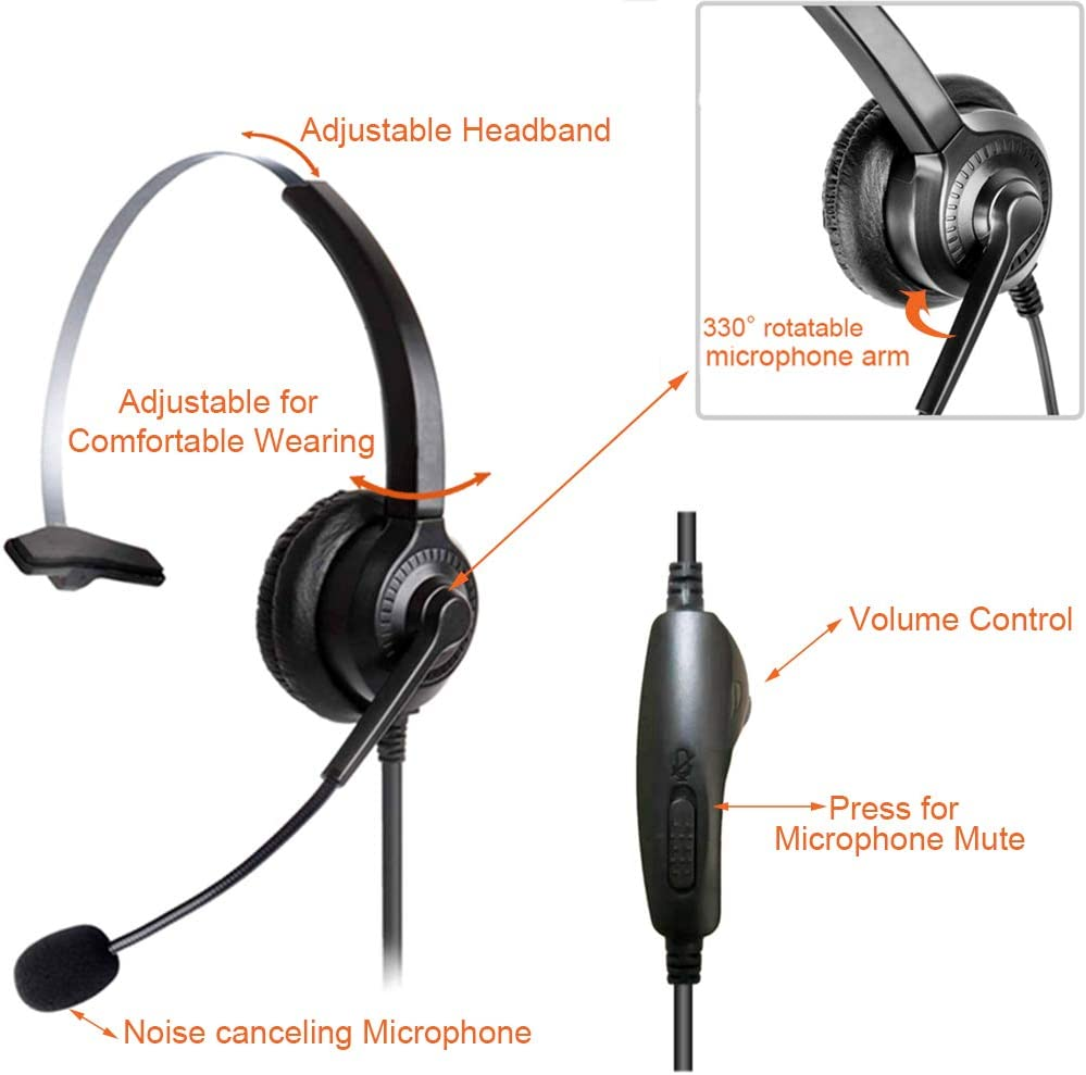 Cosyplus 2.5mm Telephone Headset Monaural with Noise Cancelling Microphone for DECT AT/&T ML17929 Vtech Panasonic KX-T7630 Polycom Clarity XLC3.4 Office IP and Cordless Dect Phones(T10)