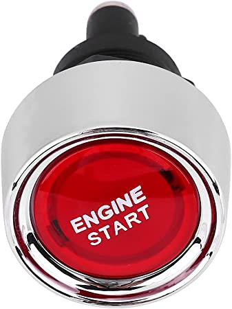 Qiilu 12V-24V 50A Car Vehicle Engine Start Push Button Switch Ignition Starter,Red LED Light,3P SPST,Off- Red Momentary ON