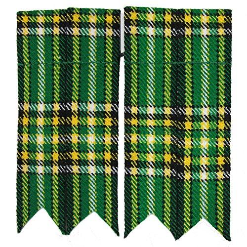 Tartanista Mens Green Irish Tartan Pointed Kilt Sock Flashes