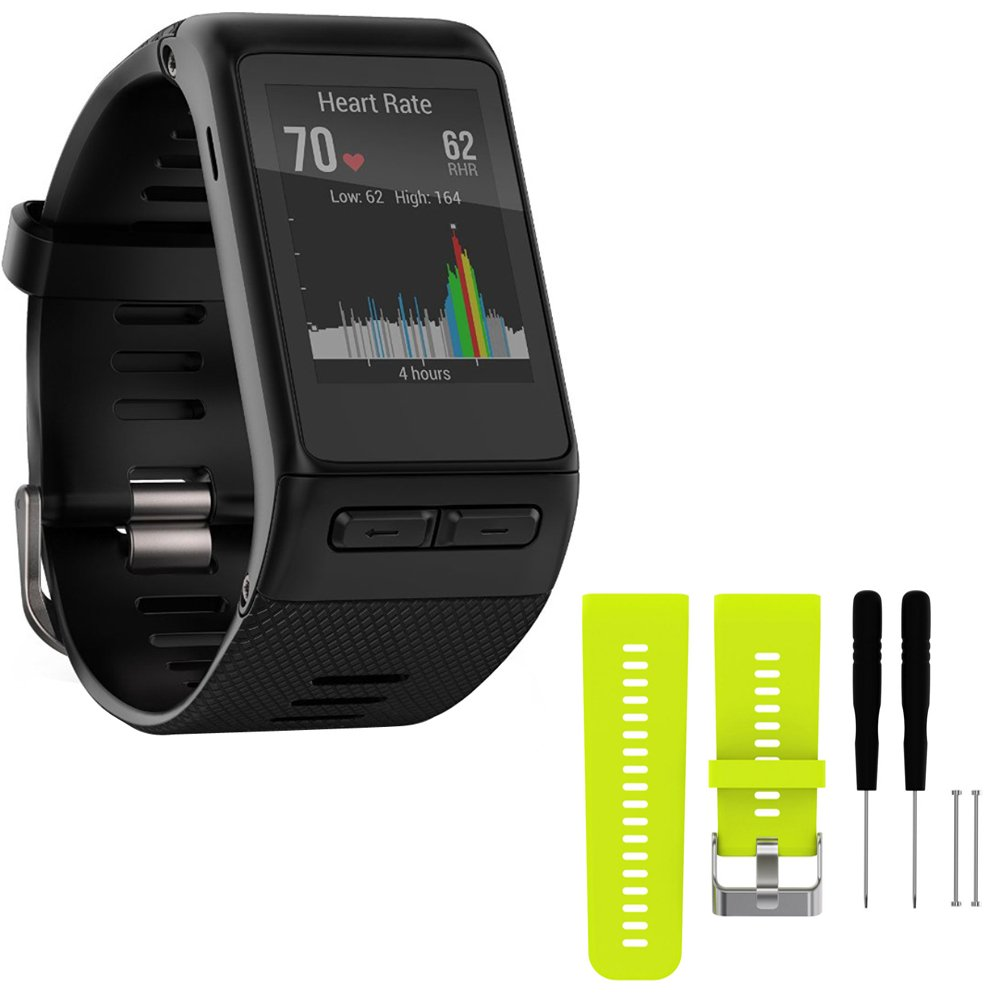Garmin vivoactive HR GPS Smartwatch - X-Large Fit - Black (010-01605-04) with General Brand Silicone Band Strap + Tools for Garmin Vivoactive HR Sport Watch (Lime)