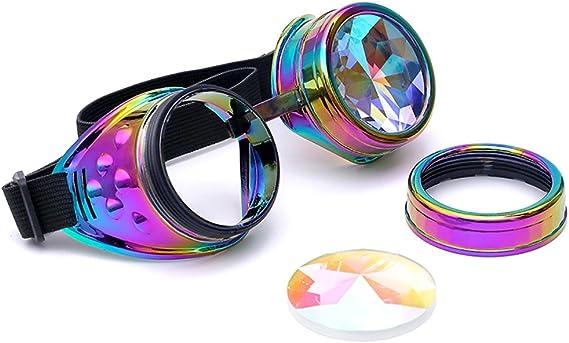 Senza Rivetti ODJOY-FAN Caleidoscopio Occhiali Rainbow Prism Da Sole Per Donna Uomo Migliore Rave Party Diffraction Lenti Di Cristallo Caleidoscopici; Colorati Feste Festa
