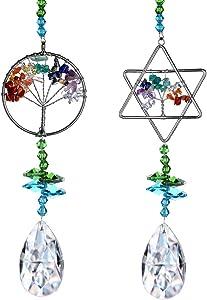 H&D HYALINE & DORA Set 2pcs Hanging Tree of Life Pendant Rainbow Sun Catcher Crystal Prism Window Ornament Decor for Home Garden Car