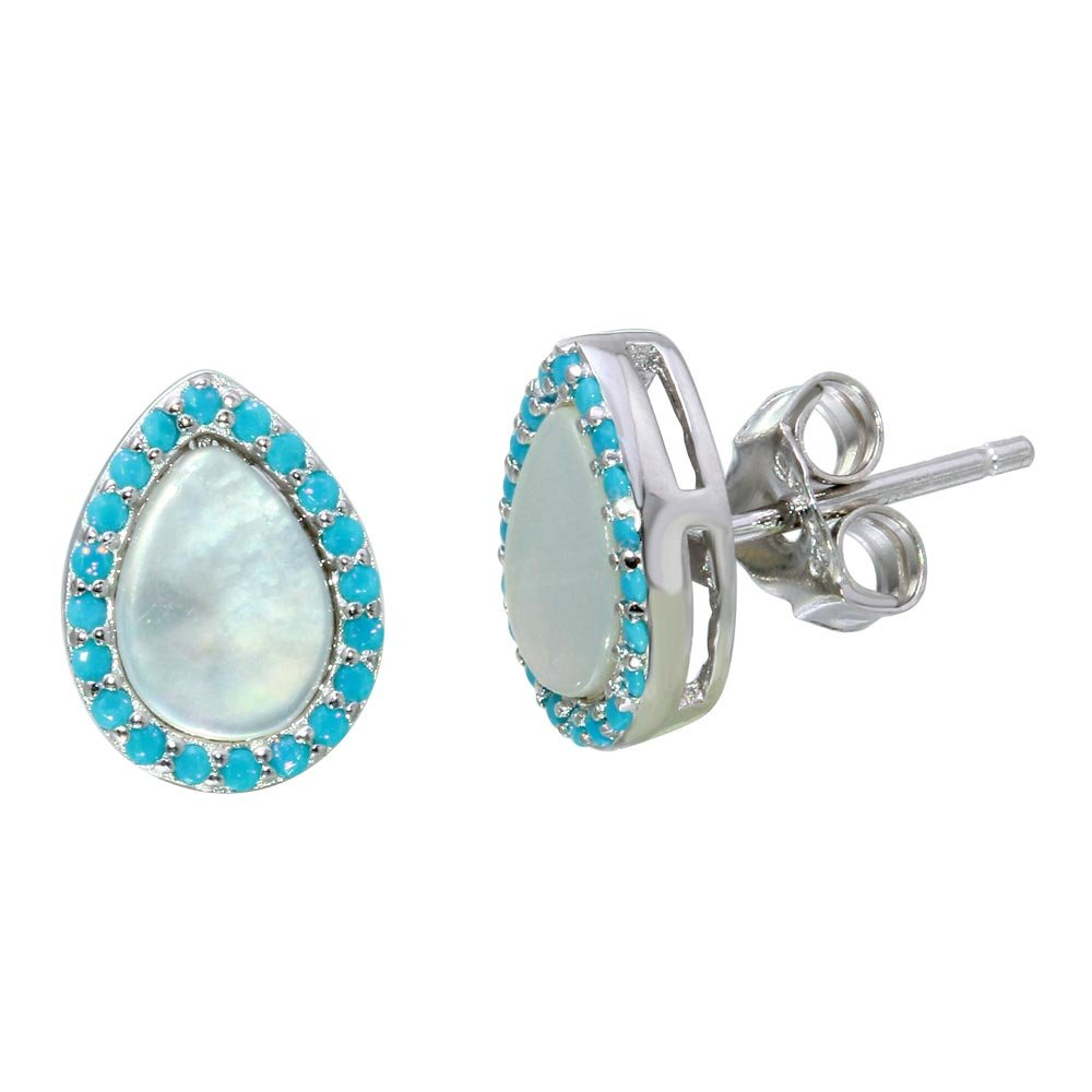 Teardrop Simulated Opal With Simulated Turquoise All Around Stud Earrings Rhodium Plated Sterling Silver
