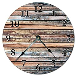 15.5 to 16 Extra Large Wall Clock - PRINTED OLD BARN WOOD CLOCK - Decorative Round Wall Clock
