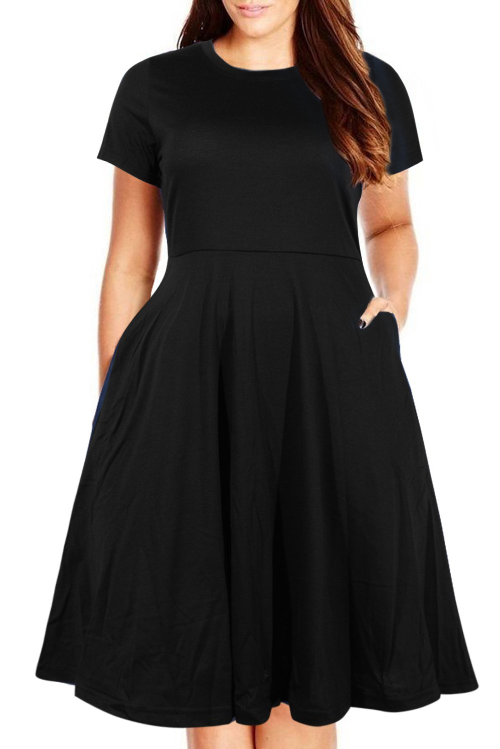 Nemidor Women's Round Neck Summer Casual Plus Size Fit and Flare Midi Dress with Pocket (Black, 16W)
