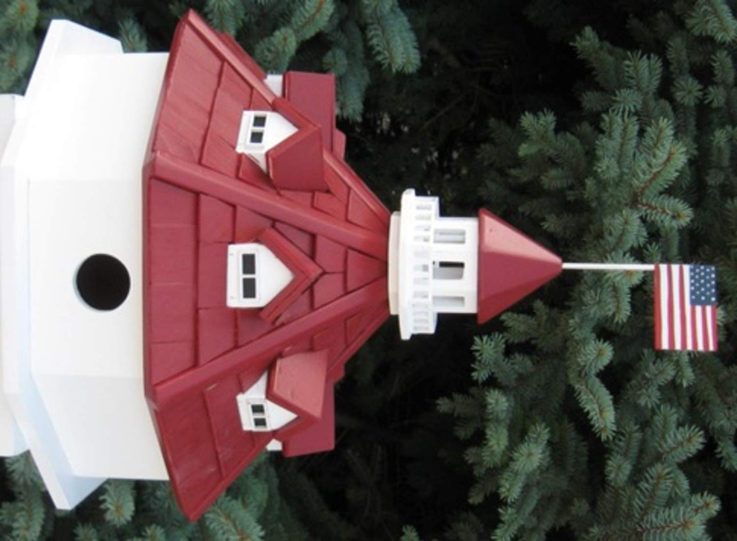 CC Outdoor Living 12  Red and White Annapolis Lighthouse Post-Mount Wild Birdhouse