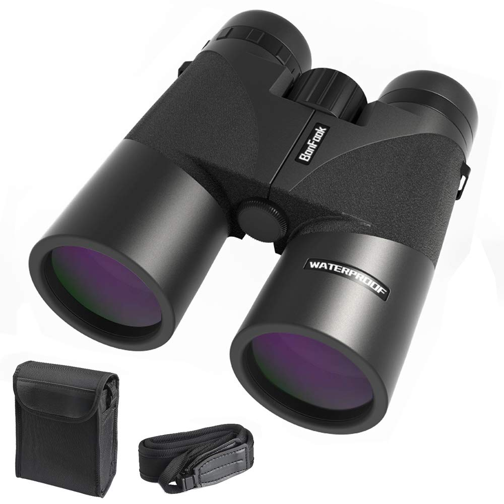 Binoculars for Adults,Compact 12x42 HD Professional Waterproof and Fogproof (2 in 1),Folding Binoculars for Bird Watching,BAK4 Prism FMC Lens Clear WeaK Light Night Vision with Carrying Bag and Strap