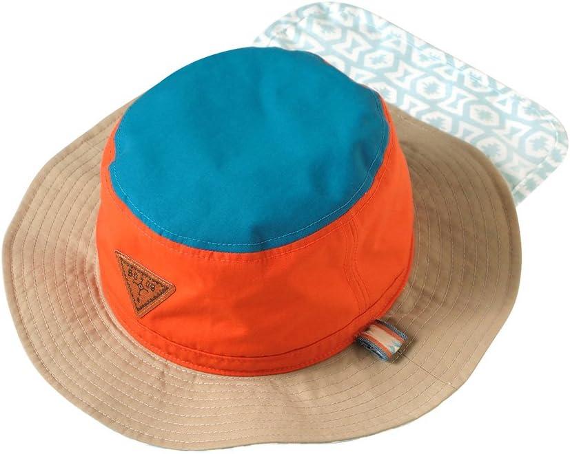 10mois(ディモワ) サファリハット オレンジ×ブルー 48〜52cm 8515