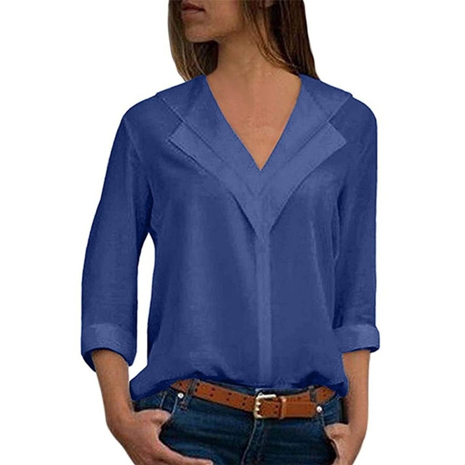 a6b214d04b8e6 ❤️Fashion Women Chiffon Solid T-Shirt Office Ladies Plain Roll Sleeve Blouse  Top--A brand-new