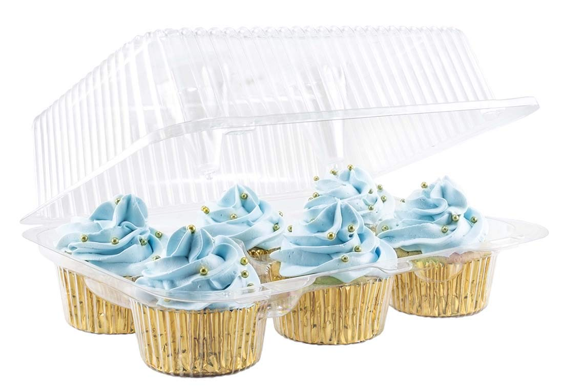 Katgely 6 Cavity Cupcake Containers with Deep Dome (Pack of 50) by katgely