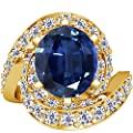 GemsNY 18K Yellow Gold Oval Cut Blue Sapphire Ring With Sidestones