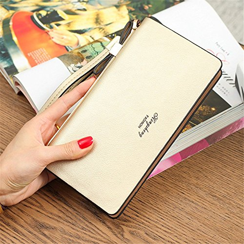 Gold Soft function Color Purse capacity Large Clutch Multi Lovely Gold Leather rabbit Lady qw67Cxgt