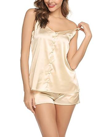 22ca3e65f60 Pajamas Set Womens Satin Nightwear Lingerie Gown Sleep Cami Pj Set with Short  Pants Beige-