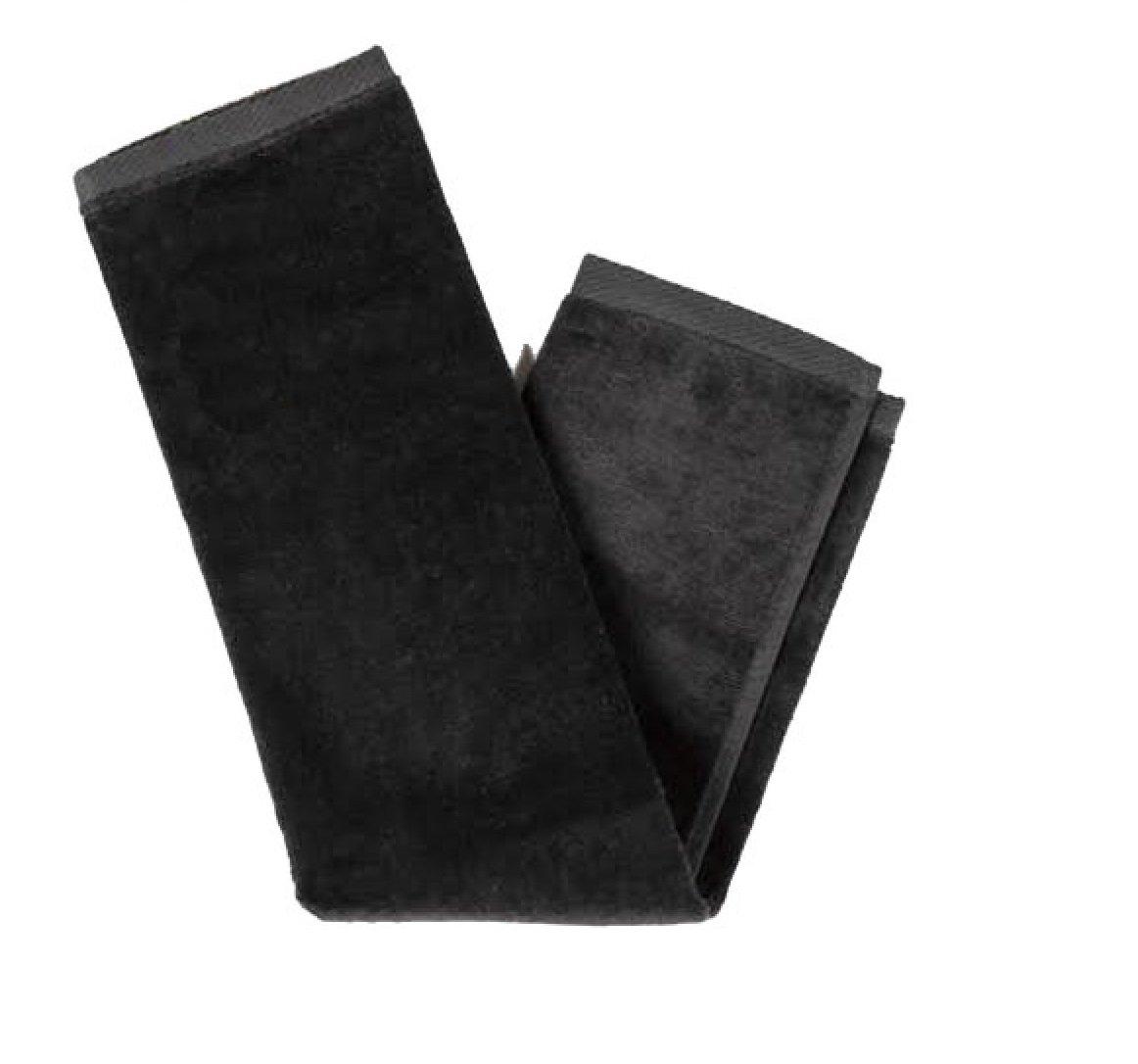 BLACK Color Bulk Fingertip Towels Terry Velour w/Hemmed Ends 100% Cotton (24, BLACK)