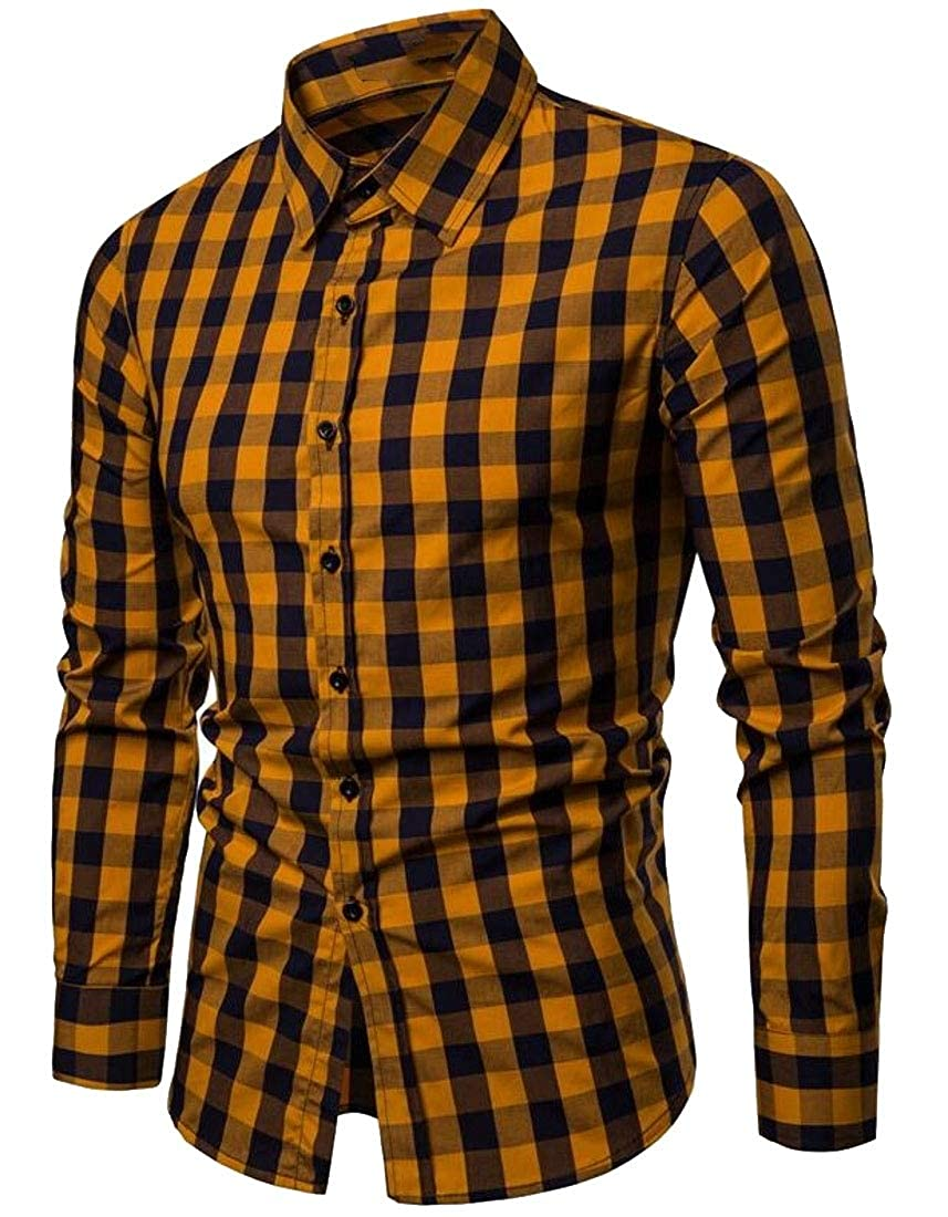 Generic Mens Casual Long Sleeve Plaid Button Down Shirts Tops