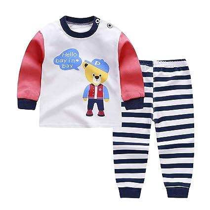 364b71256500 Baby Boys Girls Cotton Pajamas Set Cartoon Long Sleeve Tops and ...