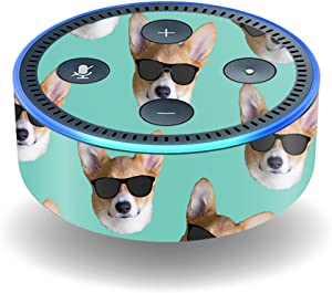 Mightyskins Skin Compatible With Amazon Echo Dot (2nd Gen) - Cool Corgi | Protective, Durable, And Unique Vinyl Decal Wrap Cover | Easy To Apply, Remove, And Change Styles | Made In The Usa