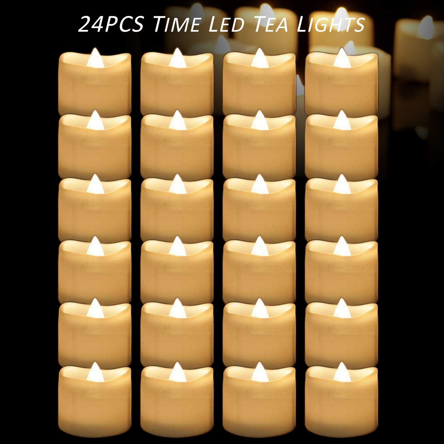 Micandle 24PCS Battery Tea Lights with Timer, 6 Hours on and 18 Hours Off in 24 Hours Cycle Automatically,Warm White Flickering Timing LED Candles Lights,1.4 x 1.4 Inch