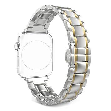 Clever Elegantes Armband Für Apple Watch 38mm Edelstahlarmband Gliederarmband Rosègold Uhrenarmbänder Uhrenarmbänder