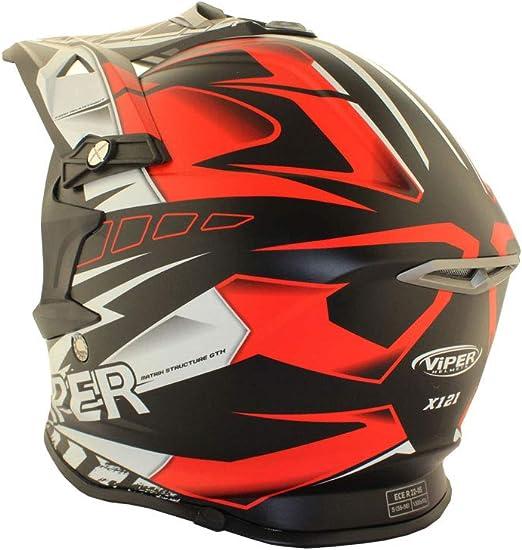 VIPER RSX121 SUPERCROSS ENDURO ECE 22.05 APROBADO MOTO CASCO ROJO EQUIPO DE PROTECCI/ÓN PARA BICICLETA L 59-60 CM