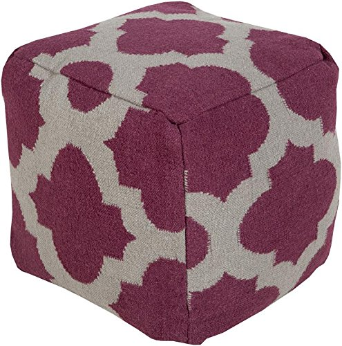 Surya POUF157-181818 100-Percent Wool Pouf, 18-Inch by 18-Inch by 18-Inch, Eggplant/Gray by Surya