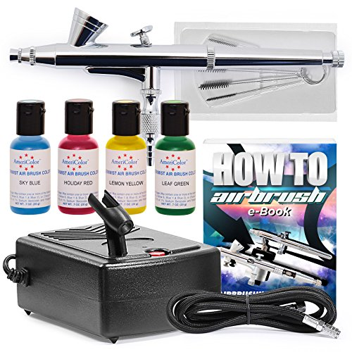 PointZero Complete Airbrush Cake Decorating Set - 4 Chefmaster Colors