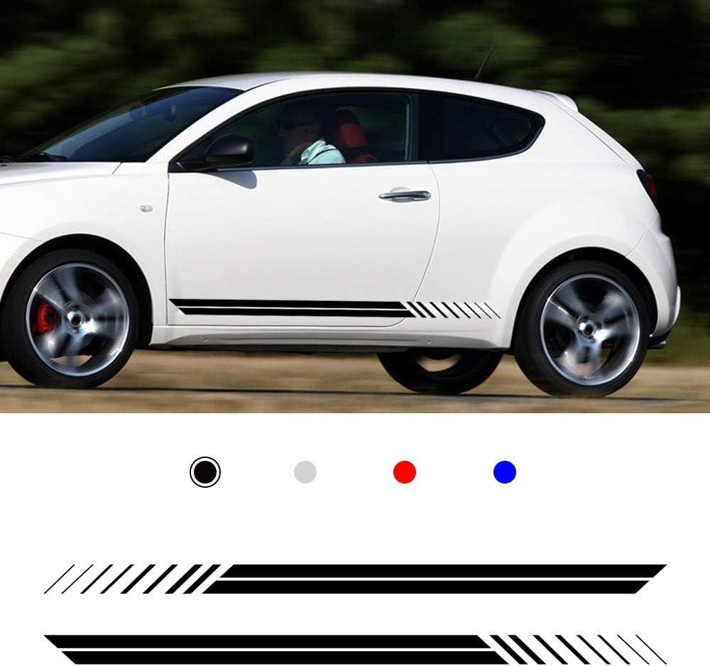 Cobear Auto Seitenstreifen Seitenaufkleber Aufkleber Für A Lfa Romeo Giulia Mito Spide Rennstreifen Racing Decals Viperstreifen Schwarz 2 Stück Auto
