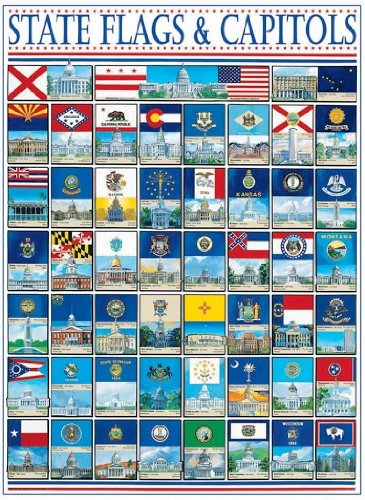 amazon com white mountain puzzles state flags and capitols 1000