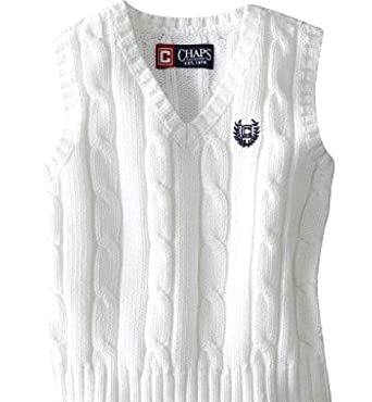 d10d617c699d Amazon.com: CHAPS Boys Kids Cable Knit V-neck Sweater Vest White w ...