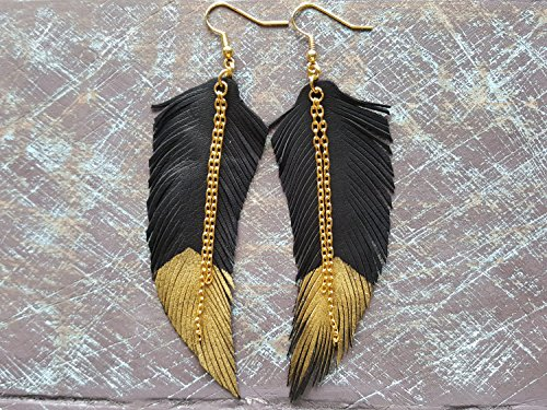 Black and gold leather earrings. Feather earrings. Leather feathers. Boho earrings. Bohemian earrings. Tribal earrings. Hippie earrings.