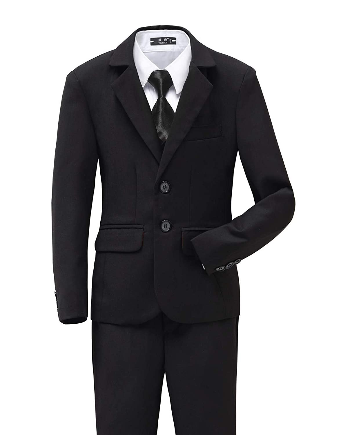 Yuanlu 5 Piece Boys' First Suits Tuxedo Blue Black, No Tail