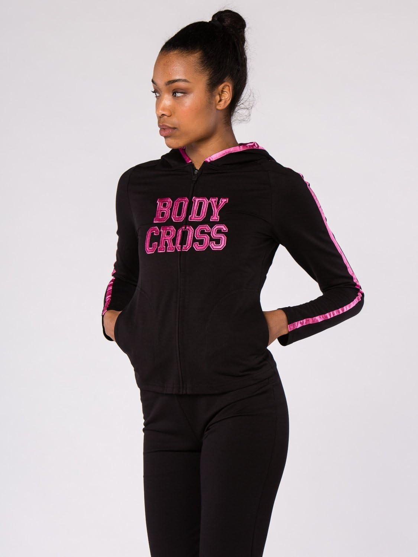 Coupe Pr/ès du Corps Polyester//Coton//Spandex Logo Brod/é BODYCROSS Veste /à Capuche Zipp/ée Femme Noir//Fushia Training Lifestyle Liseret en Satin