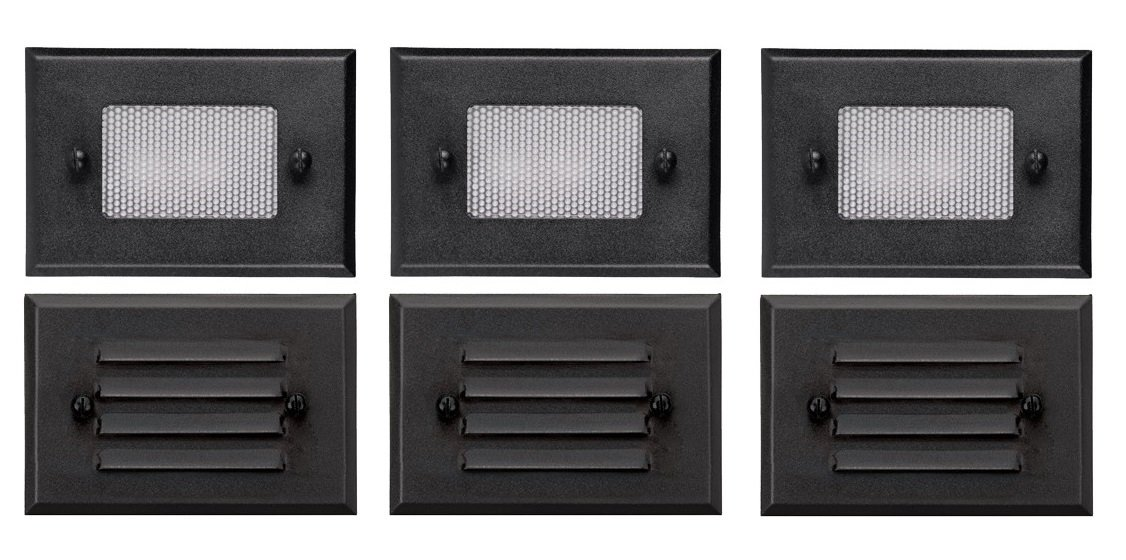 3 Pack of Malibu 8301-2402-03 Half Brick Deck Step Light w/ 2 Lenses ea, 7 Watt, Black BY MALIBU DISTRIBUTION