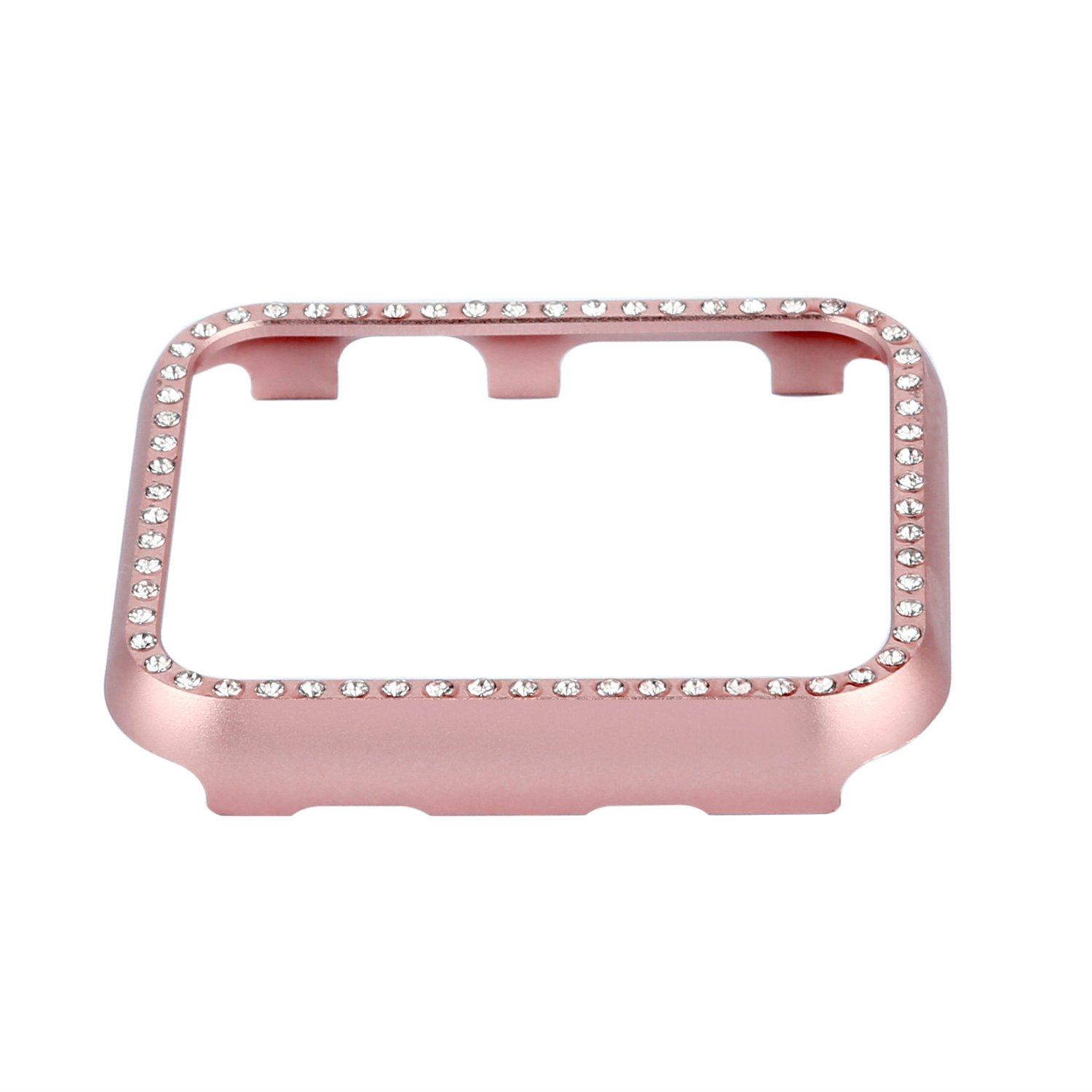 Apple Watch Bumper 42mm, iWatch Crystal Rhinestone Diamond Aluminum Case Shell Protective Frame Cover for 42mm Apple Watch Series 3/2/1 - Rose Gold by Clatune (Image #1)