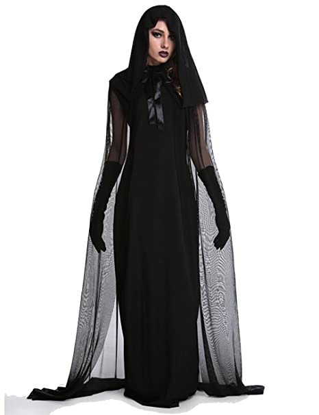 Costumi della strega di Halloween per le donne Cappotto con cappuccio  Cosplay Outfit Dark Fallen  f1a0133129a