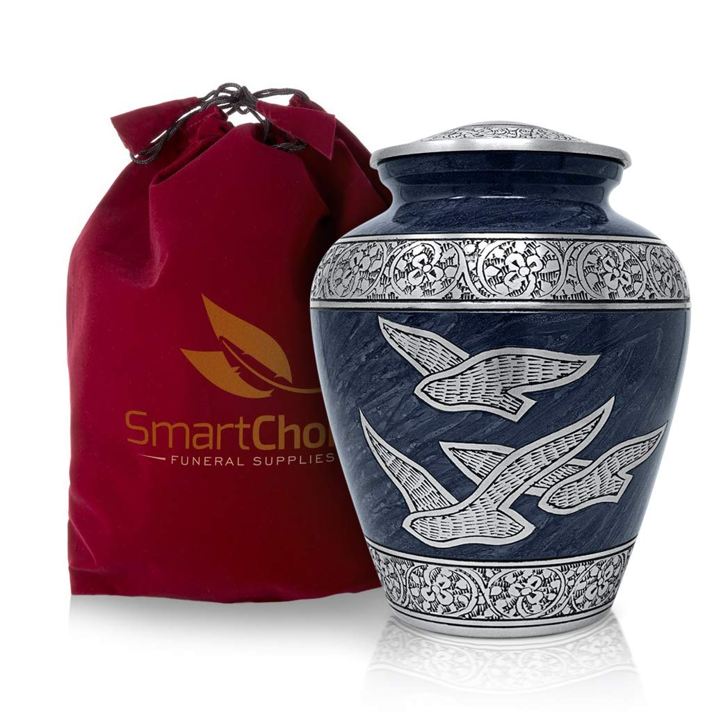 SmartChoice Cremation Urn for Human Ashes - Beautiful Wings of Freedom Funeral Urn Adult Urn for Ashes (Blue) by SmartChoice