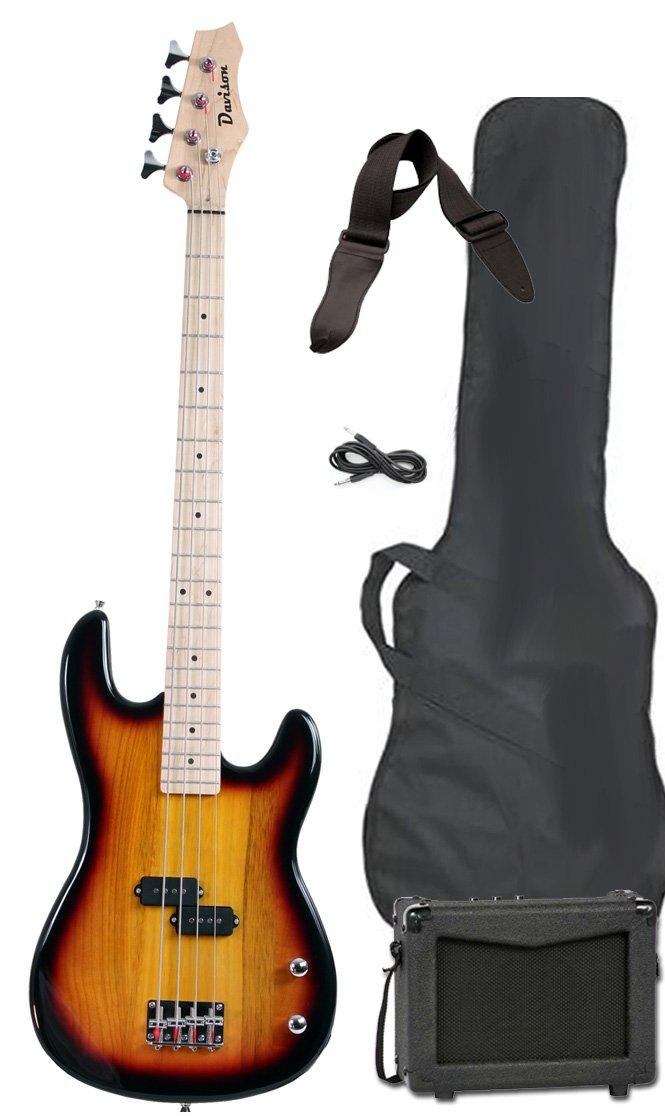 Davison Guitars Full Size Electric Bass Guitar Starter Beginner Pack with Amp Case Strap Package Vintage Sunburst Right Handed by Davison Guitars