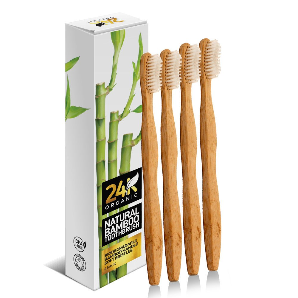Natural Bamboo Toothbrush By 24K Organic Eco friendly – Go Green Dental Care For The Entire Family
